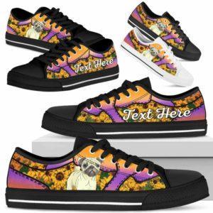 LTS-U-Dog-SunflowerNa023-Pug-53@undefined-Pug Dog Lovers Sunflower Tennis Shoes Gym Low Top Shoes Gift Men Women. Dog Mom Dog Dad Custom Shoes.