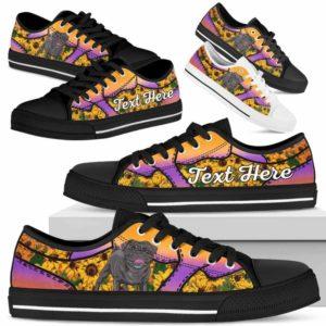 LTS-U-Dog-SunflowerNa023-Pug-54@undefined-Pug Dog Lovers Sunflower Tennis Shoes Gym Low Top Shoes Gift Men Women. Dog Mom Dog Dad Custom Shoes.