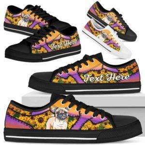 LTS-U-Dog-SunflowerNa023-Pug-55@undefined-Pug Dog Lovers Sunflower Tennis Shoes Gym Low Top Shoes Gift Men Women. Dog Mom Dog Dad Custom Shoes.
