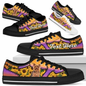 LTS-U-Dog-SunflowerNa023-Yorkie-64@undefined-Yorkie Dog Lovers Sunflower Tennis Shoes Gym Low Top Shoes Gift Men Women. Dog Mom Dog Dad Custom Shoes. Yorkshire Terrier