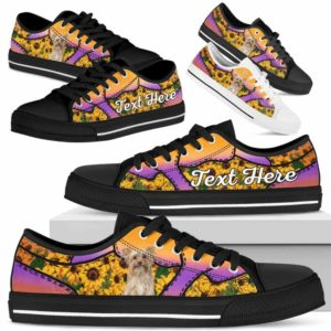 LTS-U-Dog-SunflowerNa023-Yorkie-65@undefined-Yorkie Dog Lovers Sunflower Tennis Shoes Gym Low Top Shoes Gift Men Women. Dog Mom Dog Dad Custom Shoes. Yorkshire Terrier