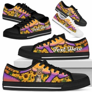 LTS-U-Dog-SunflowerNa023-Yorkie-67@undefined-Yorkie Dog Lovers Sunflower Tennis Shoes Gym Low Top Shoes Gift Men Women. Dog Mom Dog Dad Custom Shoes. Yorkshire Terrier