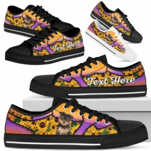 LTS-U-Dog-SunflowerNa023-Yorkie-68@undefined-Yorkie Dog Lovers Sunflower Tennis Shoes Gym Low Top Shoes Gift Men Women. Dog Mom Dog Dad Custom Shoes. Yorkshire Terrier