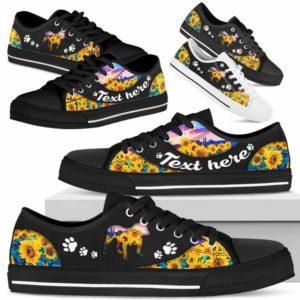 LTS-U-Dog-SunflowerNa033-Bulldog-6@undefined-Bulldog Dog Lovers Sunflower Tennis Shoes Gym Low Top Shoes Gift Men Women. Dog Mom Dog Dad Custom Shoes.