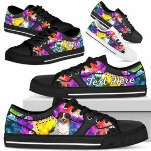 LTS-U-Dog-WaterColorNa013-Aussie-1@undefined-Aussie Dog Lovers Watercolor Tennis Shoes Gym Low Top Shoes Gift Men Women. Dog Mom Dog Dad Custom Shoes. Australian Shepherd