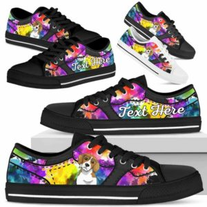 LTS-U-Dog-WaterColorNa013-Beagle-4@undefined-Beagle Dog Lovers Watercolor Tennis Shoes Gym Low Top Shoes Gift Men Women. Dog Mom Dog Dad Custom Shoes.