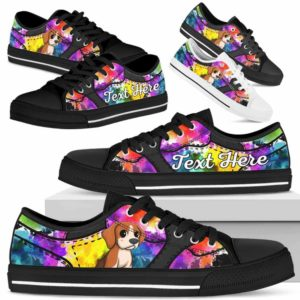 LTS-U-Dog-WaterColorNa013-Beagle-5@undefined-Beagle Dog Lovers Watercolor Tennis Shoes Gym Low Top Shoes Gift Men Women. Dog Mom Dog Dad Custom Shoes.