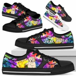 LTS-U-Dog-WaterColorNa013-Poodle-46@undefined-Poodle Dog Lovers Watercolor Tennis Shoes Gym Low Top Shoes Gift Men Women. Dog Mom Dog Dad Custom Shoes.