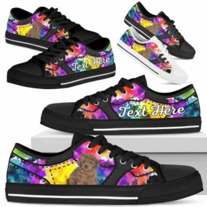 LTS-U-Dog-WaterColorNa013-Poodle-51@undefined-Poodle Dog Lovers Watercolor Tennis Shoes Gym Low Top Shoes Gift Men Women. Dog Mom Dog Dad Custom Shoes.