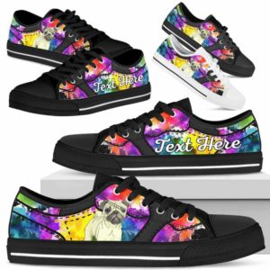 LTS-U-Dog-WaterColorNa013-Pug-53@undefined-Pug Dog Lovers Watercolor Tennis Shoes Gym Low Top Shoes Gift Men Women. Dog Mom Dog Dad Custom Shoes.