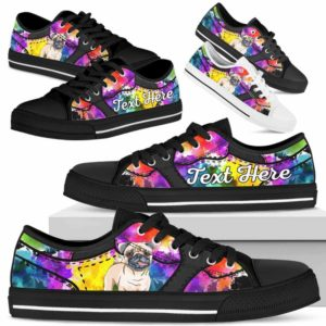 LTS-U-Dog-WaterColorNa013-Pug-55@undefined-Pug Dog Lovers Watercolor Tennis Shoes Gym Low Top Shoes Gift Men Women. Dog Mom Dog Dad Custom Shoes.