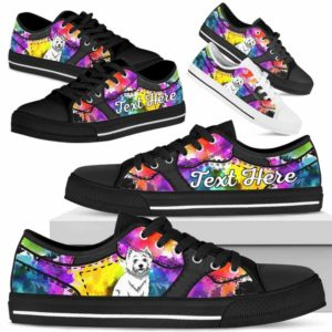 LTS-U-Dog-WaterColorNa013-Westie-62@undefined-Westie Dog Lovers Watercolor Tennis Shoes Gym Low Top Shoes Gift Men Women. Dog Mom Dog Dad Custom Shoes. West Highland White Terrier
