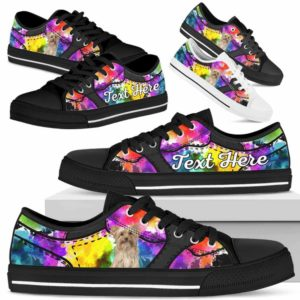 LTS-U-Dog-WaterColorNa013-Yorkie-65@undefined-Yorkie Dog Lovers Watercolor Tennis Shoes Gym Low Top Shoes Gift Men Women. Dog Mom Dog Dad Custom Shoes. Yorkshire Terrier