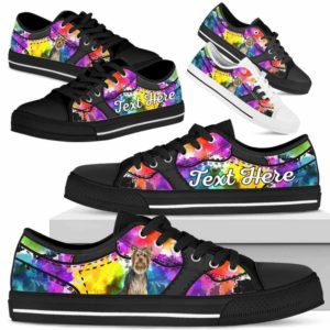 LTS-U-Dog-WaterColorNa013-Yorkie-67@undefined-Yorkie Dog Lovers Watercolor Tennis Shoes Gym Low Top Shoes Gift Men Women. Dog Mom Dog Dad Custom Shoes. Yorkshire Terrier
