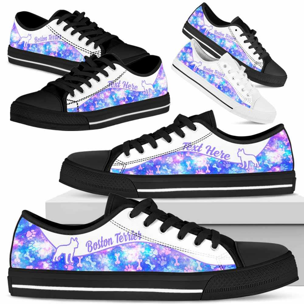 LTS-W-Dog-Galaxy03NaSportline10-BosTer-3@undefined-Boston Terrier Dog Lovers Galaxy Tennis Shoes Gym Low Top Shoes Gift Men Women. Dog Mom Dog Dad Custom Shoes.