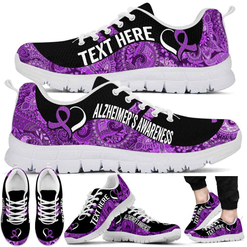 SS-U-Awareness-Paisley02NaSportline9-Alzhei-2@undefined-Alzheimer'S Awareness Ribbon Paisley Sneakers Gym Running Shoes. Survivor Fighter Custom Gift.