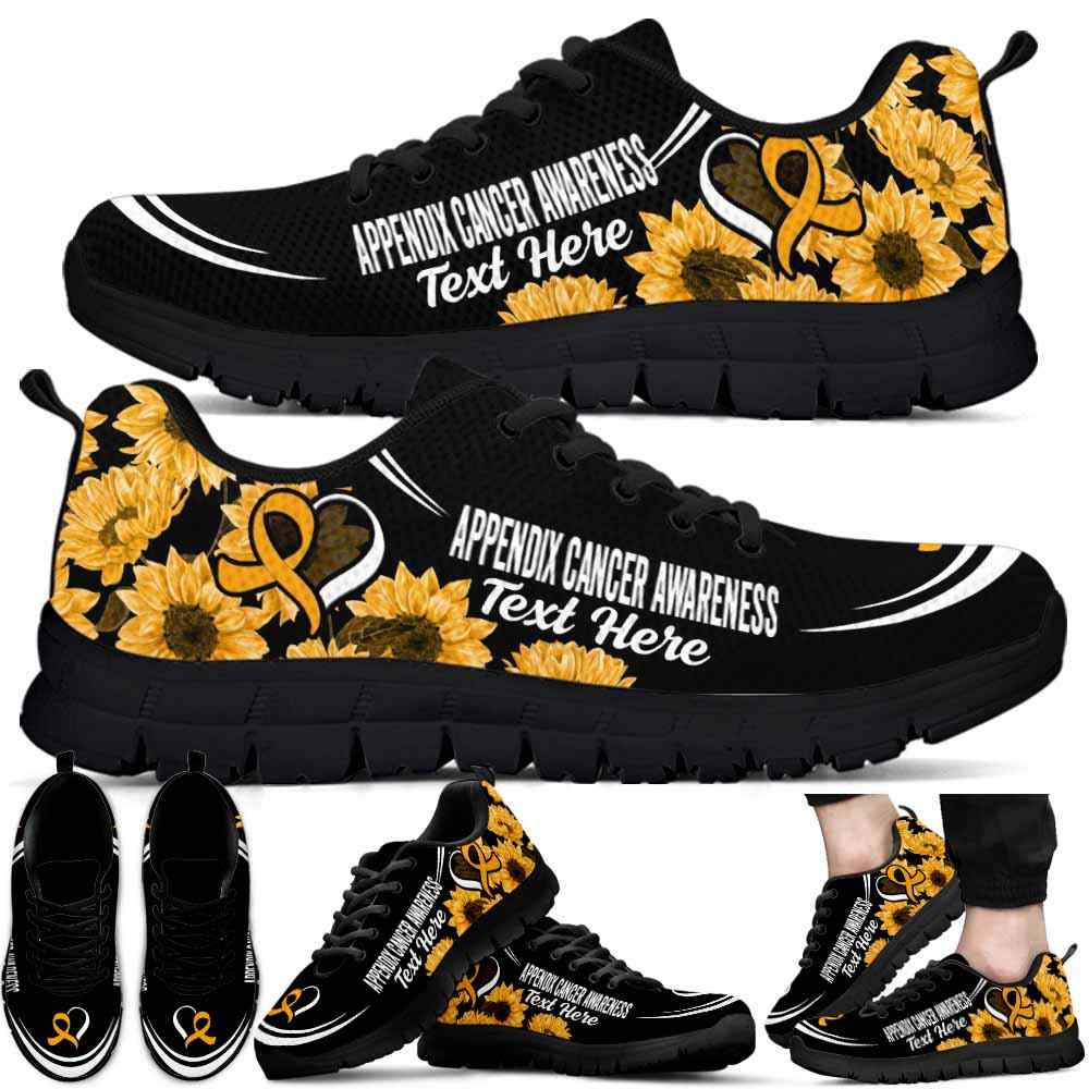 SS-U-Awareness-Sunflower01NaSportline10a-AppCan-4@undefined-Appendix Cancer Awareness Ribbon Sunflower Sneakers Gym Running Shoes. Survivor Fighter Custom Gift.