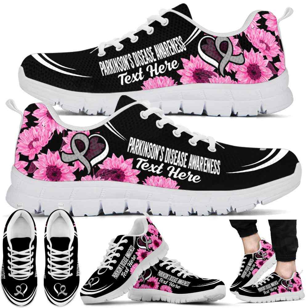 SS-U-Awareness-Sunflower01NaSportline10a-Parkin-32@undefined-Parkinson'S Disease Awareness Ribbon Sunflower Sneakers Gym Running Shoes. Survivor Fighter Custom Gift.