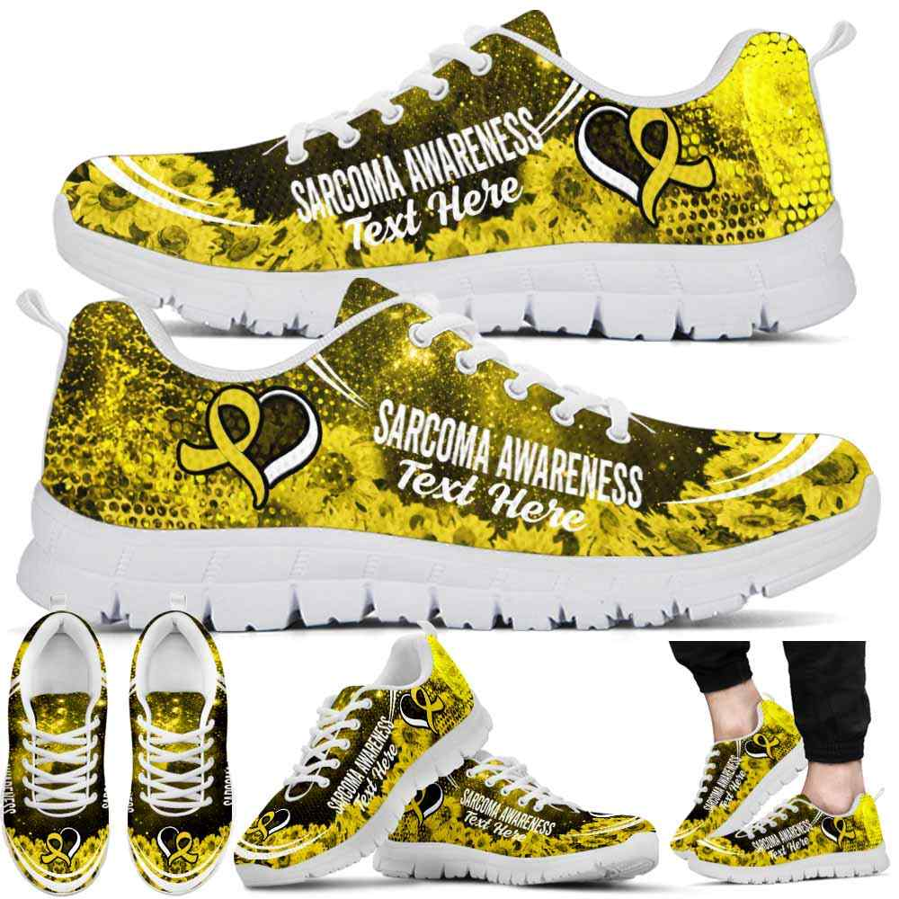 SS-U-Awareness-SunflowerGalaxy01NaSportline10a-Sarcom-37@undefined-Sarcoma Awareness Ribbon Sunflower Galaxy Sneakers Gym Running Shoes. Survivor Fighter Custom Gift.