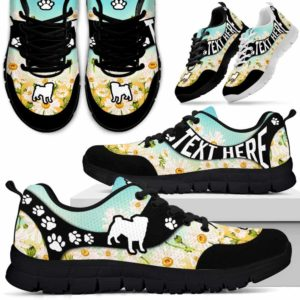 SS-U-Dog-DaisyNa02-Pug-19@undefined-Daisy Flower Pug Dog Lovers Sneakers Gym Running Shoes Gift Women Men. Dog Mom Dog Dad Custom Shoes.