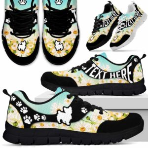 SS-U-Dog-DaisyNa02-Yorkie-25@undefined-Daisy Flower Yorkie Dog Lovers Sneakers Gym Running Shoes Gift Women Men. Dog Mom Dog Dad Custom Shoes. Yorkshire Terrier