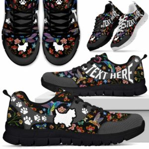 SS-U-Dog-EmbroideryNa01-Westie-24@undefined-Embroidery Flower Westie Dog Lovers Sneakers Gym Running Shoes Gift Women Men. Dog Mom Dog Dad Custom Shoes. West Highland White Terrier