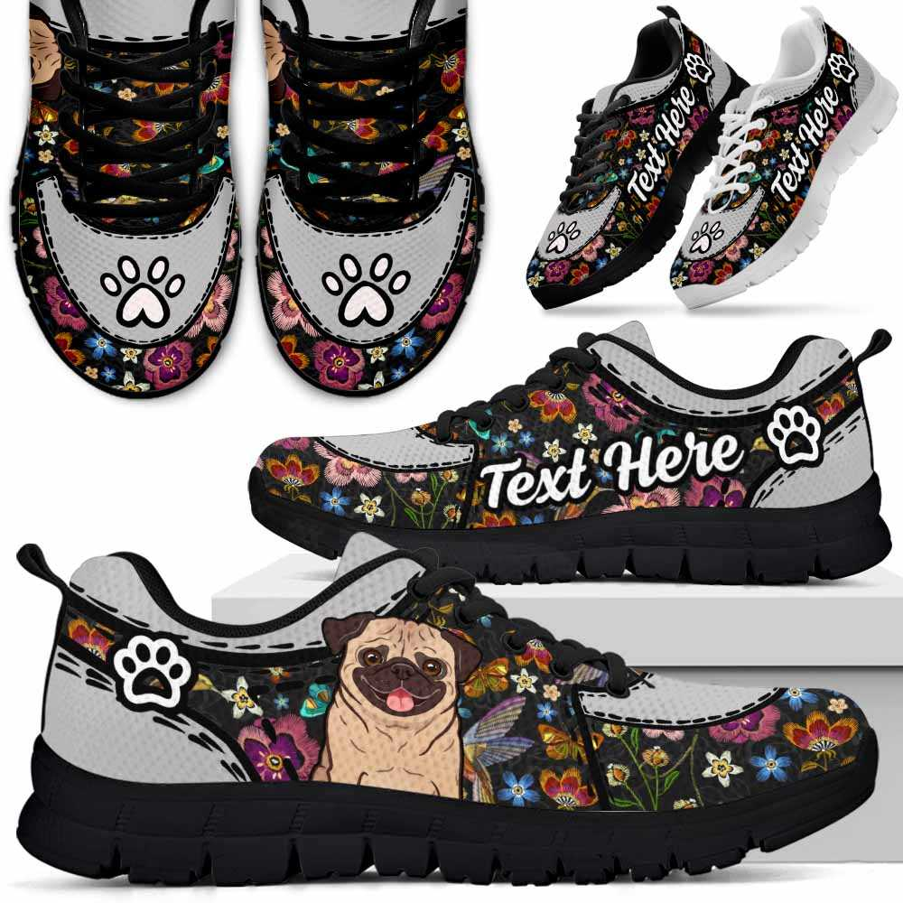 SS-U-Dog-EmbroideryNa012-Pug-52@undefined-Pug Dog Lovers Flower Embroidery Sneakers Gym Running Shoes Gift Women Men. Dog Mom Dog Dad Custom Shoes.
