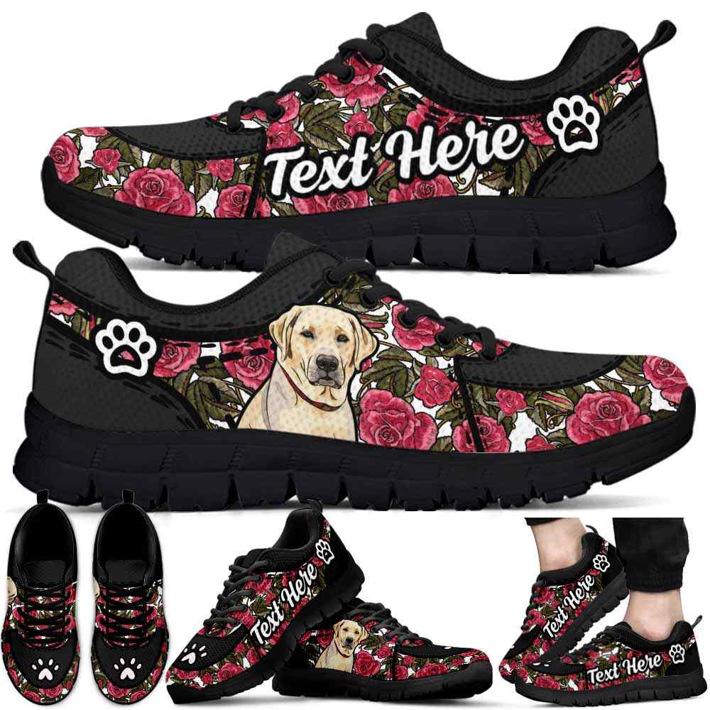 SS-U-Dog-EmbroideryNa022-Lab-39@undefined-Lab Dog Lovers Rose Flower Sneakers Gym Running Shoes Gift Women Men. Dog Mom Dog Dad Custom Shoes. Labrador Retriever