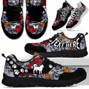 SS-U-Dog-EmbroideryNa03-Husky-16@undefined-Flower Embroidery Husky Dog Lovers Sneakers Gym Running Shoes Gift Women Men. Dog Mom Dog Dad Custom Shoes.
