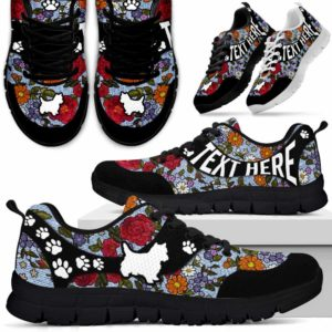 SS-U-Dog-EmbroideryNa03-Westie-24@undefined-Flower Embroidery Westie Dog Lovers Sneakers Gym Running Shoes Gift Women Men. Dog Mom Dog Dad Custom Shoes. West Highland White Terrier