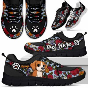 SS-U-Dog-EmbroideryNa032-Beagle-5@undefined-Beagle Dog Lovers Flower Embroidery Sneakers Gym Running Shoes Gift Women Men. Dog Mom Dog Dad Custom Shoes.