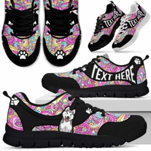 SS-U-Dog-LovePeaceNa01-Husky-36@undefined-Hippie Peace Husky Dog Lovers Sneakers Gym Running Shoes Gift Women Men. Dog Mom Dog Dad Custom Shoes.