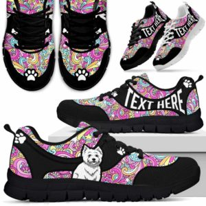 SS-U-Dog-LovePeaceNa01-Westie-62@undefined-Hippie Peace Westie Dog Lovers Sneakers Gym Running Shoes Gift Women Men. Dog Mom Dog Dad Custom Shoes. West Highland White Terrier