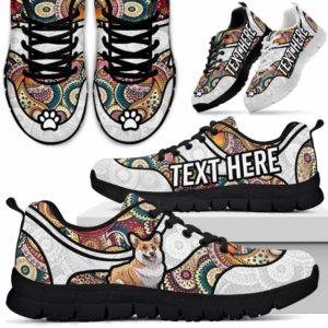 SS-U-Dog-MandalaNa02-Corgi-18@undefined-Colorful Mandala Corgi Dog Lovers Sneakers Gym Running Shoes Gift Women Men. Dog Mom Dog Dad Custom Shoes.