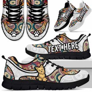 SS-U-Dog-MandalaNa02-Yorkie-63@undefined-Colorful Mandala Yorkie Dog Lovers Sneakers Gym Running Shoes Gift Women Men. Dog Mom Dog Dad Custom Shoes. Yorkshire Terrier