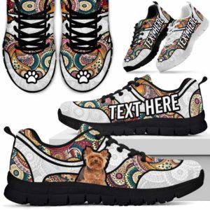 SS-U-Dog-MandalaNa02-Yorkie-64@undefined-Colorful Mandala Yorkie Dog Lovers Sneakers Gym Running Shoes Gift Women Men. Dog Mom Dog Dad Custom Shoes. Yorkshire Terrier