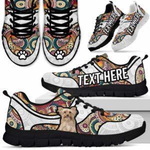 SS-U-Dog-MandalaNa02-Yorkie-65@undefined-Colorful Mandala Yorkie Dog Lovers Sneakers Gym Running Shoes Gift Women Men. Dog Mom Dog Dad Custom Shoes. Yorkshire Terrier