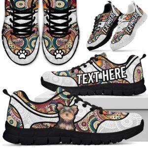 SS-U-Dog-MandalaNa02-Yorkie-66@undefined-Colorful Mandala Yorkie Dog Lovers Sneakers Gym Running Shoes Gift Women Men. Dog Mom Dog Dad Custom Shoes. Yorkshire Terrier