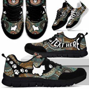 SS-U-Dog-MandalaNa03-Westie-24@undefined-Mandala Paw Westie Dog Lovers Sneakers Gym Running Shoes Gift Women Men. Dog Mom Dog Dad Custom Shoes. West Highland White Terrier