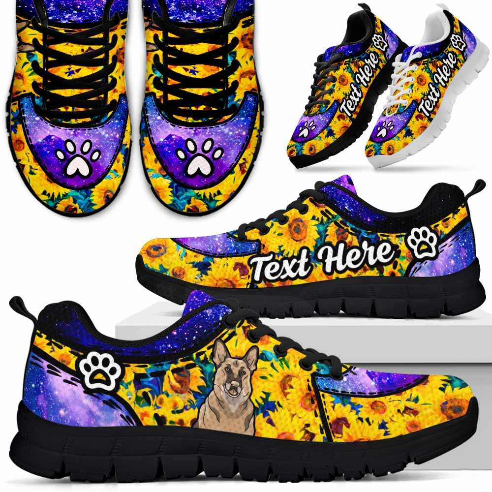 SS-U-Dog-SunflowerGalaxyNa012-GerShe-29@undefined-German Shepherd Dog Lovers Sunflower Galaxy Sneakers Gym Running Shoes Gift Women Men. Dog Mom Dog Dad Custom Shoes.