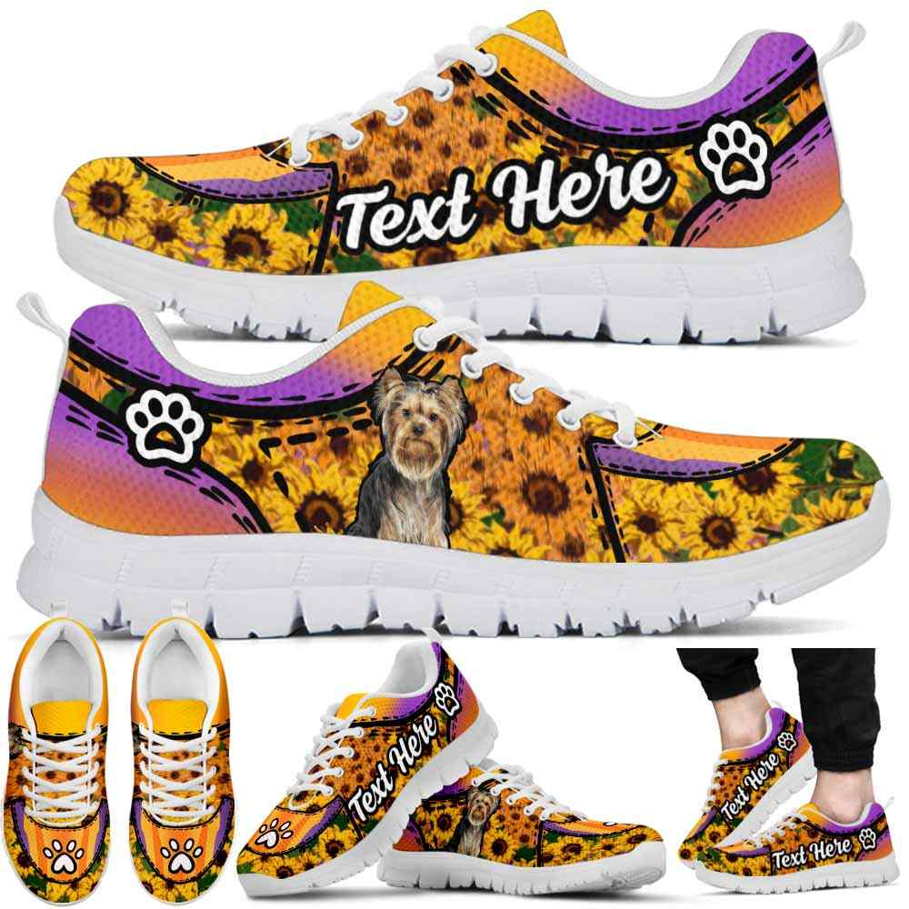 SS-U-Dog-SunflowerNa022-Yorkie-67@undefined-Yorkie Dog Lovers Sunflower Sneakers Gym Running Shoes Gift Women Men. Dog Mom Dog Dad Custom Shoes. Yorkshire Terrier