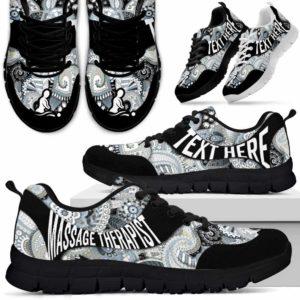 SS-U-Nurse-PaisleyNa01-MasThe-9@undefined-Paisley Massage Therapist Sneakers Gym Running Shoes Gift Women Men. Custom Shoes.