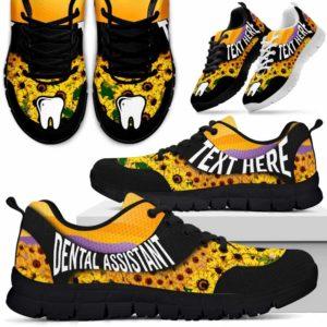 SS-U-Nurse-SunflowerNa02-DenAss-1@undefined-Bright Sunflower Dental Assistant Sneakers Gym Running Shoes Gift Women Men. Custom Shoes.