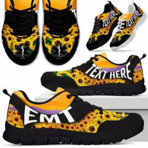 SS-U-Nurse-SunflowerNa02-EMT-4@undefined-Bright Sunflower Emt Emergency Medical Technician Sneakers Gym Running Shoes Gift Women Men. Custom Shoes.