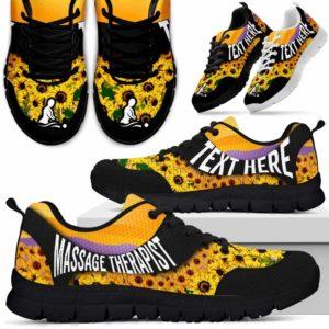 SS-U-Nurse-SunflowerNa02-MasThe-9@undefined-Bright Sunflower Massage Therapist Sneakers Gym Running Shoes Gift Women Men. Custom Shoes.