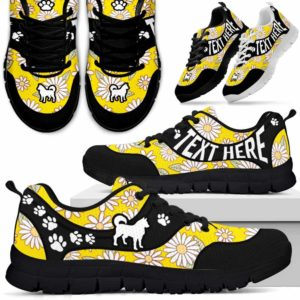 SS-W-Dog-DaisyNa01-Husky-16@undefined-Daisy Flower Husky Dog Lovers Sneakers Gym Running Shoes Gift Women Men. Dog Mom Dog Dad Custom Shoes.