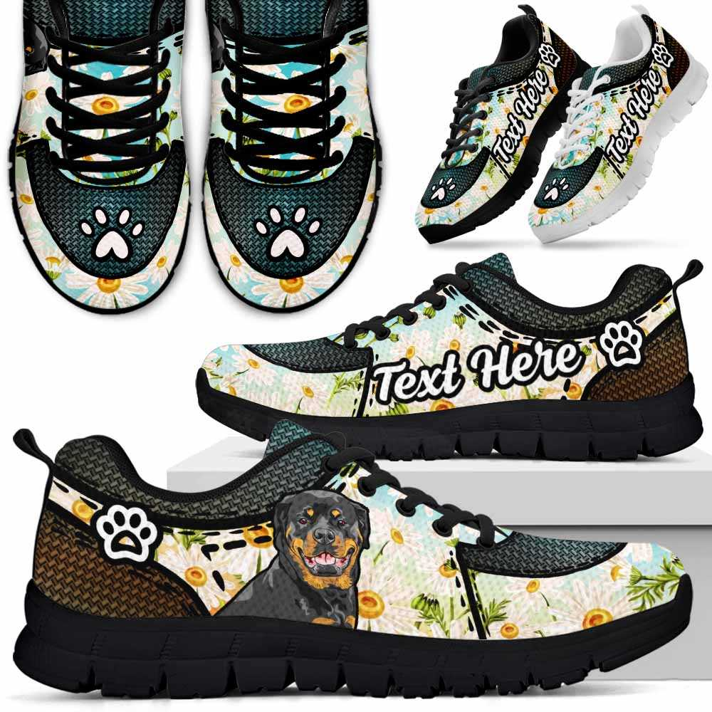 SS-W-Dog-DaisyNa022-RotWei-57@undefined-Rottweiler Dog Lovers Daisy Flower Sneakers Gym Running Shoes Gift Women Men. Dog Mom Dog Dad Custom Shoes.
