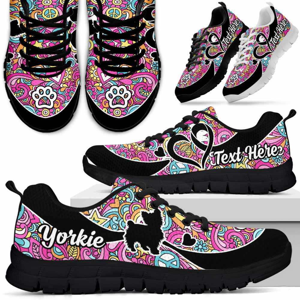 SS-W-Dog-LovenPeaceNa011-Yorkie-25@undefined-Yorkie Dog Lovers Hippie Love Sneakers Gym Running Shoes Gift Women Men. Dog Mom Dog Dad Custom Shoes. Yorkshire Terrier
