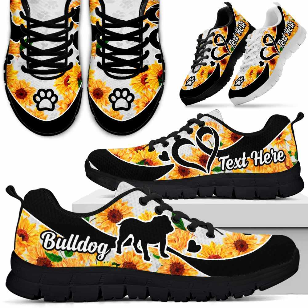 SS-W-Dog-SunflowerNa011-Bulldog-6@undefined-Bulldog Dog Lovers Sunflower Sneakers Gym Running Shoes Gift Women Men. Dog Mom Dog Dad Custom Shoes.