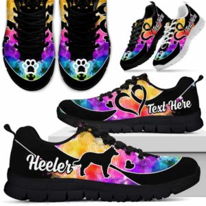 SS-W-Dog-WaterColorNa011-Heeler-15@undefined-Heeler Dog Lovers Watercolor Sneakers Gym Running Shoes Gift Women Men. Dog Mom Dog Dad Custom Shoes. Australian Cattle